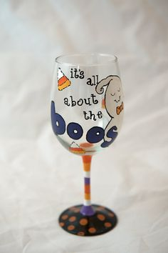 Set of 4 Hand Painted Halloween wine glasses by TheSparkleFairies