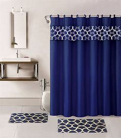 Gorgeous Home Linen Different Colors  Designs 1 Shower Curtain and a Set of 2 Bath Mats Rugs Bath Boutique 100 Polyester Navy Blue Geometric -- Continue to the product at the image link. Note:It is Affiliate Link to Amazon.