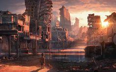 post apocalyptic anime | sunset postapocalyptic artwork boys abandoned city forsaken children ...