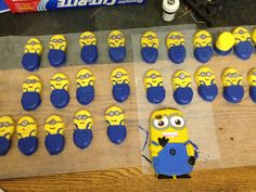 "Previous pinner: ""Nutter Butter Minions!!!"" -- Can't seem to trace this beyond the jpg, but similar cute critters (with instructions) made of Milanos can be found here: http://www.justataste.com/minions-cookies-recipe/"