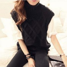 HEE GRAND Autumn Winter Pullover Sleeveless Argyle Turtleneck Knitted New Arrival Women Loose Solid Color Casual Sweater WZM625
