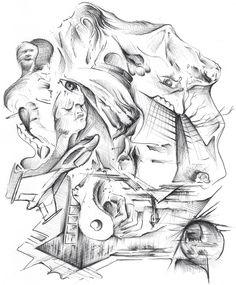 Surreal sketch collage.  Rob Shaw rrrickyshaw