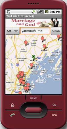 Yard Sale Treasure Map- an app for your phone that maps out all the yard sales in your area!!   EPIC!