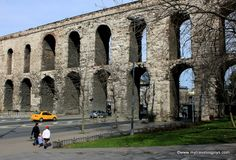 The historic Valens Aqueduct in Istanbul.