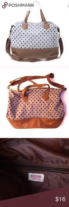 Mossimo weekender gym dance bag Grey with blue polka dots and light brown straps, this bag holds EVERYTHING! Preowned but in good shape, very durable. Colors in my pics are more accurate than the Target pic. Mossimo Supply Co. Bags