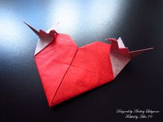 Origami Heart with cranes