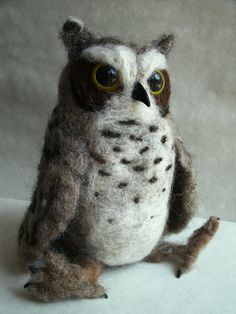 Needle Felted Great Horned Owl, Made to Order, Large Size