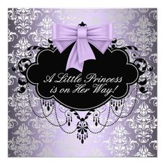 Adorable lavender purple and black purple princess baby shower invitation. This elegant black and purple princess baby shower invitation is easily customized for your event by adding your event details, font style, font size & color, and wording. Baby Girl Princess, Baby Shower Princess, Princess Theme, Pink Princess, Disney Princess, Baby Shower Purple, Purple Baby, Baby Shower Invitations For Boys, Baby Boy Shower