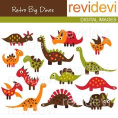 Dinosaur clip art - Retro Big Dinos 07199 - Digital clipart embellishment - Commercial use for printed invites and stationery, paper goods