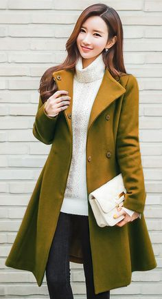 StyleOnme_Gold Button Funnel Collar Belted Flared Coat #koreanfashion #trendy #kstyle #dailylook #flared #coat #falltrend #stylish #chic