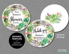 EDITABLE Favor Tags, Succulents From My Shower to Yours Circle Tags, Succulent Editable Bridal Showe Tag Templates, Paper Punch, Couple Shower, Bridal Shower Favors, Favor Tags, Printing Services, Unique Jewelry, Handmade Gifts, Succulents