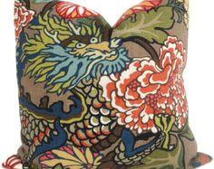 Mocha Schumacher Chiang Mai Dragon Decorative Pillow by PopOColor