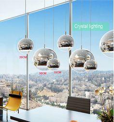 Überzogene glaskugel pendelleuchte moderne einzel anhänger lampen energiesparlampe spiegel glas hängen pendelleuchte kichen lichter(China (Mainland))