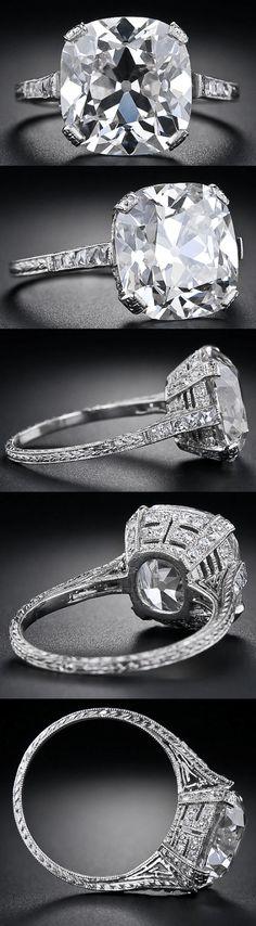 Multi view: 6.48 carat antique cushion cut diamond ring. Via Diamonds in the Library.