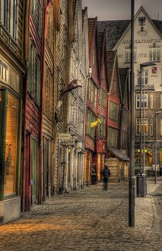 Bergen, Norway  A town made entirely of wood. Ancient and salty, this is such s beautiful city