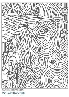 Starry Night Art appreciation coloring pages - tape to shrinky dink page. color. punch holes two holes in one side for a book. Shrink. Make a book of famous art - colored by you.