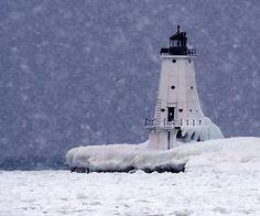 The Ludington lighthouse in snow storm
