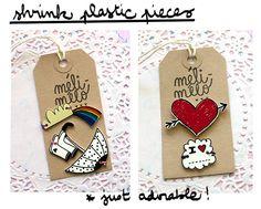 méli-mélo studio: A little peek at my products! shrink plastic embellishments (scrapbooking, cardmaking, packaging)