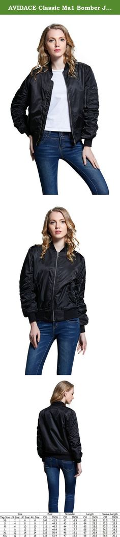 AVIDACE Classic Ma1 Bomber Jacket Women Nylon Quilted Solid Size L Black. Classic jacket design which is popular for years,vintage military style feature,thick and warm lining,Originate from U.S. Air Force, with pure inheritance,dense nylon material renders smooth handfeel and glossy texture,knitted cuff, belt and neckband (which can be tightened up for wind-breaking),zipper arm bag, which can hold a pen,fabric features: crease-resistant, wear-resistant, windproof and waterproof.
