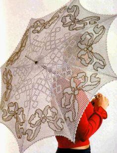 tejidos artesanales en crochet: sombrilla tejida en crochet de sol a sombra