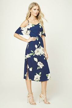 Floral Open-Shoulder Midi Dress