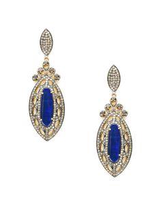 By Amparali, always so beautiful! Blue Opal & Diamond Marquise Drop Earrings