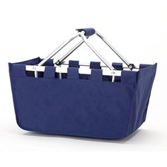 Solid Reusable Shopping Market Tote Basket Craft Sewing Organizer in Navy  No Monogram