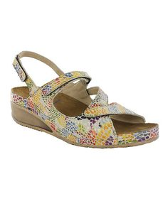 This Neutral & Yellow Fantasy Churley Leather Sandal is perfect! #zulilyfinds
