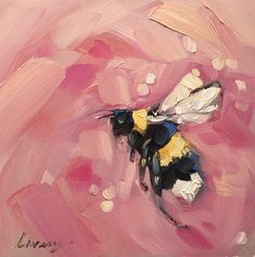 "Bee painting, Original impressionistic oil painting of a Bumblebee,  4x4"" on panel, bee art, bees, garden art by LaveryART on Etsy"