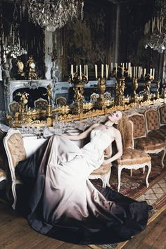 Nicole Kidman reclines in the splendor of the dining room at Waddesdon Manor. Givenchy Haute Couture satin dress with ombré trim Photographed by Mario Testino, Vogue, December 2006 Mario Testino, Nicole Kidman, Satin Dresses, Sexy Dresses, Beautiful Dresses, Awesome Dresses, Dresses 2013, Gorgeous Dress, Evening Dresses