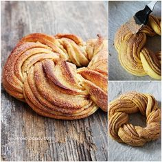 Estonian Kringel or Braided Cinnamon Wreath - this looks delicious, but can't imagine mine will ever come out looking this good - from Totally Love It Cinnamon Twists, Cinnamon Bread, Cinnamon Rolls, Cinnamon Butter, Bread Recipes, Cooking Recipes, Uk Recipes, Easy Recipes, Healthy Recipes
