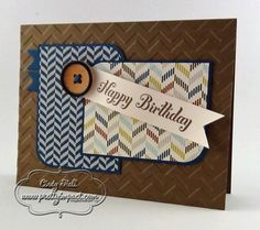 Stamp Set:  Bring on the Cake;  Paper:  Soft Suede, Very Vanilla, Midnight Muse and Comfort Cafe DSP;  Ink:  Soft Suede Classic Stampin' Pad;  Tools and Accessories:  Chevron Embossing Folder, Bitty Banners Framelits Die, Naturals Designer Buttons and 3/16″ Corner Punch