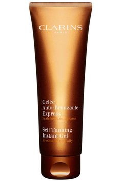 """Apply a nice facial self tanner that will even the skin tone and keep it looking radiant, even if you're not wearing a drop of makeup,"" explains Carmindy. Clarins Self Tanning Instant Gel, $34, macys.com."