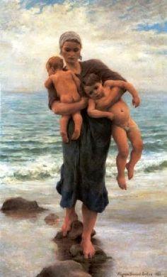 Virginie Demont-Breton, Femme de pêcheur venant de baigner ses enfants   (1859-1935)  Née dans le Pas-de Calais, fille et nièce de peintres reconnus, elle grandit dans un milieu artistique et s'intéresse à la vie du petit village de Wissant où elle réalise de nombreux portraits et scènes de pêcheurs. Beaucoup de ses toiles ont disparu pendant la guerre.