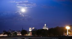 The moon and the city.