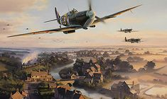 """""""The Biggin Hill Wing"""" by Nicolas Trudgian  -- On an early misty morning, the legendary South African fighter pilot Adolph Gysbert 'Sailor' Malan, leads the Biggin Hill Wing Supermarine Spitfire MkV's of 74, 92 and 609 Squadrons out over the Kent countryside, on another sweep across the English Channel into occupied Northern France."""