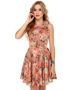 Florid Pros Coral Floral Print Dress