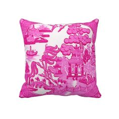 chinoiserie pink pillow