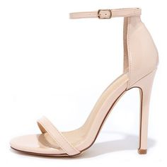 VIP Ticket Nude Patent Ankle Strap Heels (420 ZAR) ❤ liked on Polyvore featuring shoes, pumps, heels, pink, pink patent leather pumps, sexy pumps, patent leather shoes, nude shoes and liliana shoes