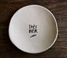5 1/4 calligraphy dish tres bien.. by raedunn on Etsy, $32.00