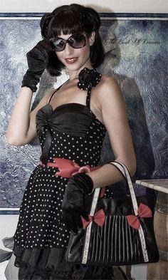 polka dress black neckline with bow fifties dress