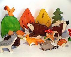 Waldorf wooden toys Wooden animals Woodland toys Organic toys Play set for kids Waldorf toys wooden toys Toddler toy Forest animals Yellow Tree, Red Tree, Toddler Toys, Kids Toys, Wooden Toy Barn, Rocking Horse Plans, Handmade Wooden Toys, Farm Toys, Waldorf Toys