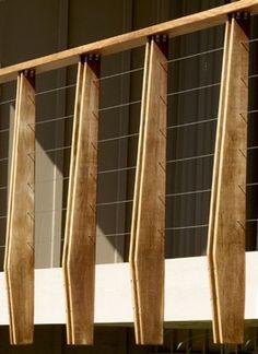 house exterior balcony railings ideas wood wire design balcon y railing materials Modern Railing, Balcony Railing Design, Metal Railings, Deck Railings, Banisters, Deck Design, Railing Ideas, Outdoor Railings, Wood Railing