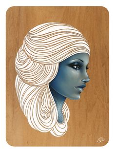 Wellington, New Zealand Artist Gina Kiel. Woman with blue face and swirly white hair, crying