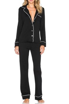 """Slip into this ultra comfortable pajama set by Michael Stars.Two-piece set. Top front button closure. Bottom elasticized drawstring waist.    Measures: 34"""" waist; 12"""" inseam on Size Small   Black Pajama Set by Michael Stars. Clothing - Lingerie & Sleepwear - Sleepwear Texas"""