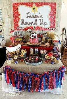 Western dessert table Rodeo Birthday Parties, Rodeo Party, Cowboy Theme Party, Cowgirl Birthday, Horse Birthday, Birthday Party Decorations, 2nd Birthday, Western Party Decorations, Birthday Ideas