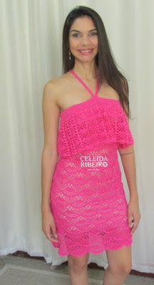 Celeida Ribeiro: Vestido em crochê com babado!