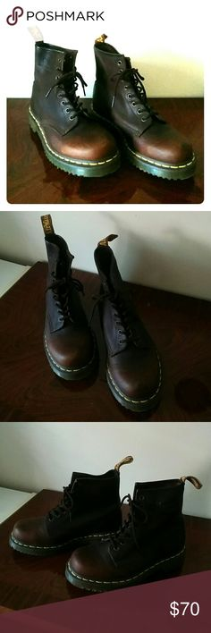 Doc Martens natural brown steel toe boots Authentic docs. Worn only a few times, they are virtually new. They do have some little superficial bends on the tongue from storage though and a random little scratch seen in last picture. My personal favorite DMs color. Dr. Martens Shoes Combat & Moto Boots