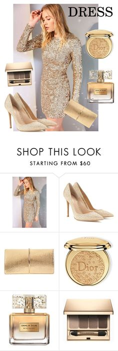 """ATTEND YOUR PARTY WITH THESE STYLE"" by yescatrin ❤ liked on Polyvore featuring Kimchi Blue, Gianvito Rossi, Nina Ricci, Christian Dior, Givenchy and Clarins"