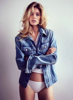 LE FASHION BLOG EDITORIAL PURE INTENTIONS DOUTZEN KROES WILL DAVIDSON TELEGRAPH UK JEAN JACKET DENIM JACKET WHITE TEE TSHIRT WHITE BRIEFS UN...